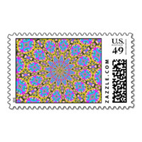 Trendy colorful pattern art postage stamp