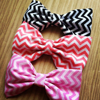 Black/Pink or Salmon PICK ONE handmade fabric bow tie hair bow Pick One