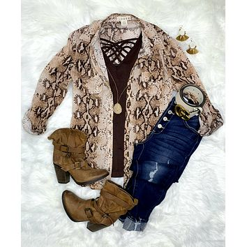 Snazzy Snake Print Top - Brown