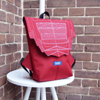 Backpack burgundy hipster backpack rucksack cycling bag everyday small mini backpack Zurichtoren geometric simple minimalist backpack bag