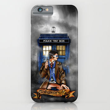 10th Doctor With Tardis Blue phone Box iPhone & iPod Case by Greenlight8