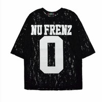 Hiphop Style Letter Print Hollow-out Half Sleeve Lace T-shirt