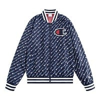 Champion Trending Full Logo Print Zipper Cardigan Sweatshirt Jacket Coat Windbreaker Sportswear Blue