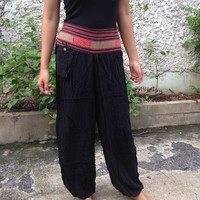 Trousers Yoga Genie Harem Pants Ethnic Tribal Hippies Baggy Boho Hobo Fashion Style Chic Clothing Gypsy Cloth For Exercise Beach Black Plain