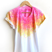 """The Original """"Splash Dyed"""" Hand PAINTED Scoop Neck Pinned Rolled Cuffs Tee in White Spectrum Acid Pink - S M L XL 2XL 3XL"""