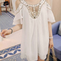 White Bead Studded Short Sleeve Chiffon Dress