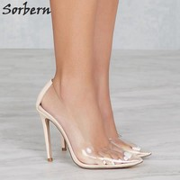 Sorbern Clear Plastic Transparent Pump Evening Club Party Pump Shoes Woman Night Club Foot Wear Designer Shoes Women Luxury 2017