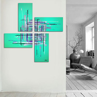 "Original abstract painting. 50x50"" 4 piece canvas art. Large painting. Aqua painting with purple, black, white. Unique."