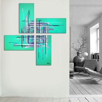 "Original abstract painting. 50x50"" 4 piece canvas art. Large painting. Aqua painting with purple, black, white. Unique. Free shipping!"