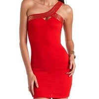 Studded One Shoulder Body-Con Dress: Charlotte Russe
