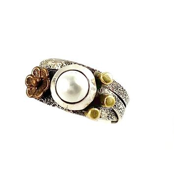 Pearl Two Tone Artisan Crafted Criss Cross Ring