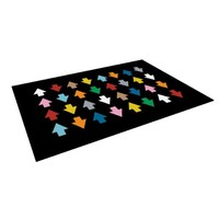 """Kess InHouse Project M """"Arrows Up and Down Black"""" Indoor/Outdoor Floor Mat, 4-Feet by 5-Feet"""