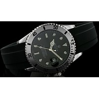 Rolex  tide brand fashion men's automatic watch F-SBHY-WSL Silver case + black letters + black dial