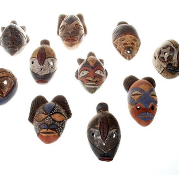 African Tribal Clay Masks, S/10