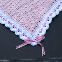 Handmade Crocheted Heirloom Baby Blanket, Light Pink w/ White Border, Pink Ribbon w/ Stitches, Perfect for Baby Showers, Ready to Ship