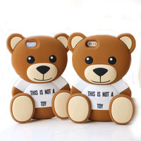Hot 3D Cute MOS Little Bear Lovely Cartoon Rubber Soft Silicone Phone Case For iPhone 5 5s 6 4.7 6 plus 5.5