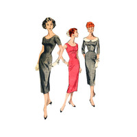 1950s Fitted Sheath Dress Sewing Pattern Wide Neck Oversized Collar Size 14 Bust 32 Butterick 8056