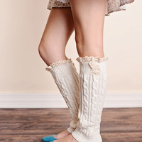 Boot Socks Cable Knit Lace Trim Ivory Leg Warmers