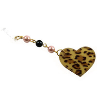 Cute Gyaru Style Leopard Heart Dust Plug with Black and Pink Pearls and Gold Chain