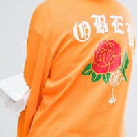 Obey Long Sleeve Tee With Rose Back Print at asos.com