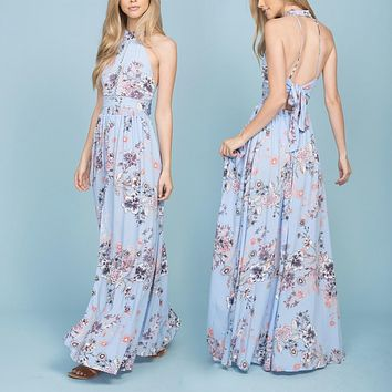 Open Back Floral Maxi Dress in More Colors