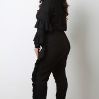 Tiered Ruffled Long Sleeve Top With Jogger Pants Set