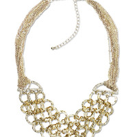 Round Link Bib Necklace and Earring Set