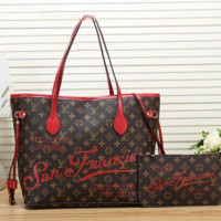 Louis Vuitton LV Women Fashion Leather Handbag Crossbody Shoulder Bag Satchel Set Two Piece