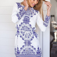 Porcelain Print Long Sleeve Mini Shift Dress