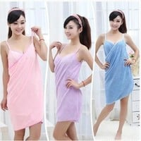 Womens Fashion Fast Drying Magic Bath Towel Beach Spa Bathrobes Bath Skirt