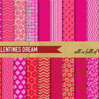 Valentines DIGITAL PAPER Pack RED And Pink Gift Wrapping Patterns