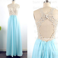 Sky Blue Long Lace Prom Dresses, Chiffon Long Formal Gown With Open Back, Sky Blue Wedding Party Dresses