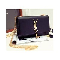 YSL Popular Women Shopping Bag Tassel Leather Metal Chain Crossbody Satchel Shoulder Bag Black I