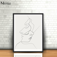 KISS - Art Canvas Poster Painting Black White Linear Art Abstract Picture Print Modern Home Room Decor - *FREE SHIPPING*