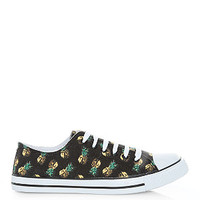 Black Pineapple Print Lace Up Trainers