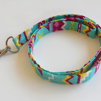 Tribal Lanyard / Tribal Print / Boho Keychain / Teal / Key Lanyard / ID Badge Holder / Fabric Lanyard / Bohemian / Chartreuse / Hot Pink