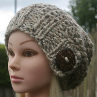 Hand Knit Hat Women's hat- Rustic Mega Chunky with wool- slouchy -beanie hat- Cream- Oatmeal tweed with big coconut button- winter hat