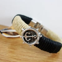 FREE SHIPPING - Men Bracelet, Leather Men Bracelet, Men's Bracelet, Men's  Leather Bracelet ,  Brown Leather.  Silver plated Claps