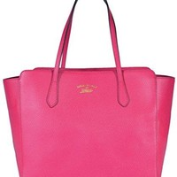 Gucci Women's Medium Textured Leather Trademark Logo Swing Tote (Blossom Pink)