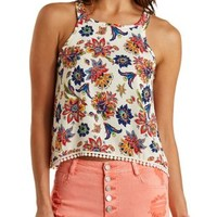Ivory Combo Pom-Pom Trim Paisley Tank Top by Charlotte Russe