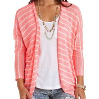 Neon Striped Open Knit Cocoon Cardigan - Neon Coral