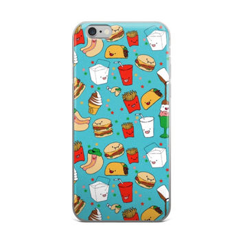 Taco Burger Chinese Milk Shake French Fries Hot Dogs & Ice Cream Fast Food Collage Food Lover Sky Blue iPhone 4 4s 5 5s 5C 6 6s 6 Plus 6s Plus 7 & 7 Plus  Case