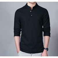 Men's Long Sleeve Half Collar Pullover Shirt