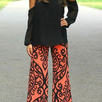 Abstract Print Wide Leg Pants