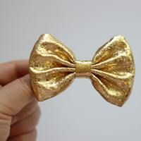 3.1 shiny gold metallic fabric hair bow clip by TwinkleMingle