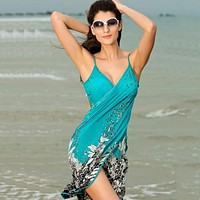 New Fashion Summer Beach Style Floral Printed Dress Women Sexy Straped Backless Sexy Cross V-neck Dresses Plus Size