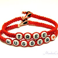 Tree Hugger Bracelet Set, Red Macrame Hemp Jewelry, Eco-Friendly Gift, Made to Order