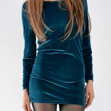 Long Sleeve Velvet Dress In Aqua