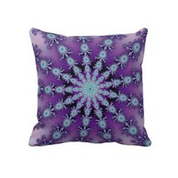 Purple and Blue Fractal Star Throw Pillow from Zazzle.com
