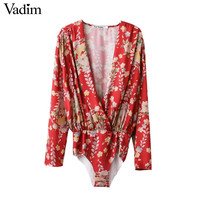 Women low cut V neck shirts sexy bodysuit long sleeve playsuit sweet floral blouse elastic waist streetwear casual tops LT1333
